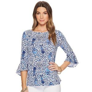 Lilly Pulitzer Fontaine Blue White 3/4 Sleeve Top
